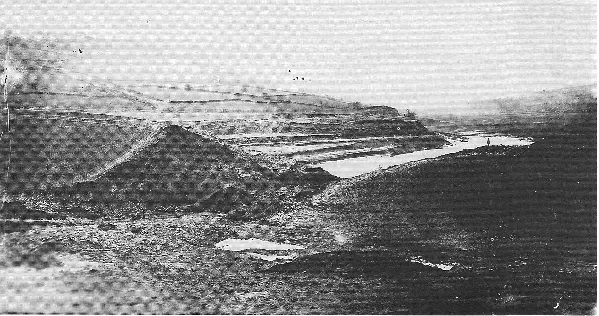 The collapsed Dale Dyke dam wall 1864