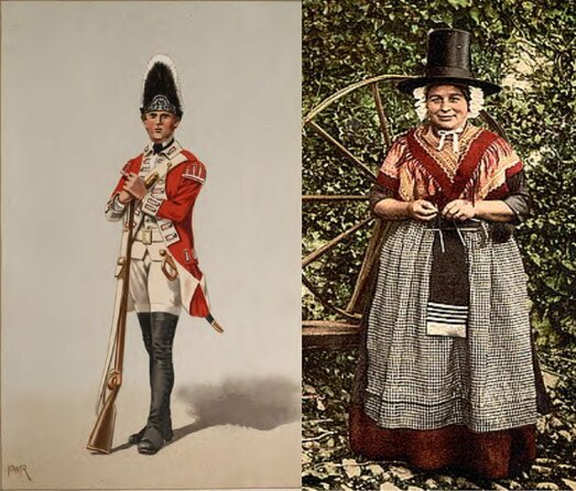 Grenadier guards or Welsh women in traditional dress