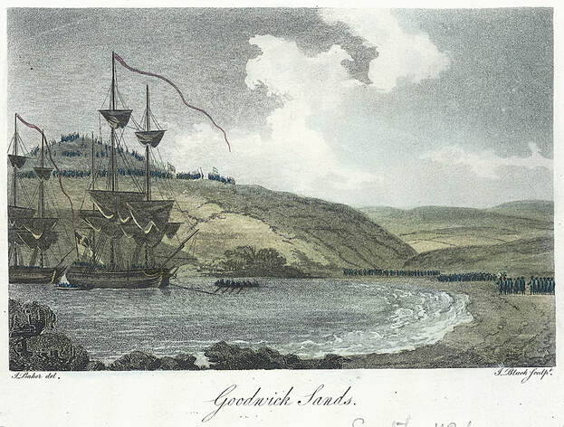 Landing parties coming ashore in Pembrokeshire 1797